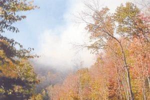 … there's usually fire, which was the occasion at Sandlck on the afternoon of Oct. 21. The fire, believed to have been started by an arsonist, was hot and a threat to nearby homes until Division of Forestry firefighters were able to put it out. Letcher County Judge/Executive Jim Ward has outlawed outdoor burning in Letcher County until further notice. (Photo by Chris Baker)