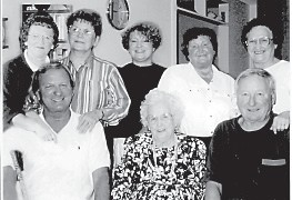 Pictured is the Nola B. Combs Family of Letcher County, (left to right, standing) Iris, Nona, Brenda, Nadine, Ina, (seated) Richard, Nola B. and Hobart Jr.