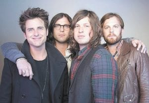Members of the band Kings of Leon, from left, Jared Followill, Nathan Followill, Matthew Followill and Caleb Followill, posed for a portrait in New York on Oct. 21. (AP Photo/Victoria Will)