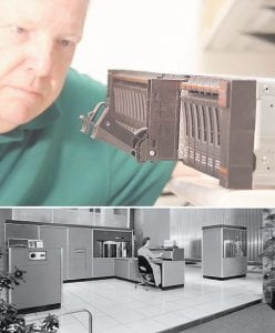"""The world's first computer storage system, the IBM """"RAMAC,"""" (bottom photo) — took up an entire room and could store 20 megabytes of data in 1956, roughly the equivalent of one song stored on an MP3 player. IBM's newest storage system announced today, the Storwize V7000 (top photo), can hold more than one million times more data than the RAMAC in a package that fits on a desktop. Social-networking sites, digital photography/video, and on-line commerce are among the activities causing huge increases in the amount of data that need to be filed, sifted and managed by businesses today. IBM storage inventions can allow businesses to categorize information in new ways, allowing for electronic medical records, for example, to be delivered to patients in minutes rather than days. (Feature Photo Service for IBM)"""