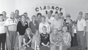 CLASS OF 1960 — The Letcher High School Class of 1960 recently held its 50-year reunion. Pictured are (front row, kneeling) Jean Hensley Bennett, Anna J. Hogg Jones, Linda Adams Hatton, John Hall, Carol Blair Sturgill, (second row) Charlene Adams Caudill, Roy Caudill, Violet Brown Watts, Maggie Hampton Back, Nina Mae Caudill, Perry Fouts, Martha McIntyre, Meredith Adams, Melvin Jr. Adams, (third row) Bill Duke, J.W. Back, Bill Campbell, Clifton Jr. Caudill, JoAnn Collins Dixon, Lee Cornett, Larry Whitaker, Cora Williams Hogg, and Bill Caudill.