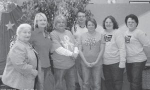 Breast cancer survivors attended a breakfast in the office of Dr. David Narramore on Oct. 22. Dr. Narramore hosted and helped serve the breakfast. Pictured are (left to right) Betty Webb, Debbie Cook, Freda McFall, Dr. Narramore, Shawn Finn, Danita Conn, and Henrietta Webb.
