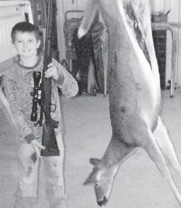 Nicholas 'Nick' Collins, son of Tony Collins and Chasity Collins, all of Isom, went hunting with his father Oct. 9 and killed his first deer. The doe weighed 125 pounds.