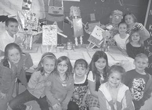 ROBOT MAKERS — Second-grade students at Beckham Bates Elementary School worked on creating robots for a class project. Pictured (left to right) are Keegan Elkins, Keeka Sexton, Alex Bates, Lindsey Hollenbeck, Brooke Mason, Kim Newton, Allison Breeding, Ethan Tolliver, Heather Akemon, Meggan Smith, and Amber Flynn.