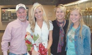 QUEEN AND HER FAMILY — Lindsay Hart of Whitesburg, a senior at Eastern Kentucky University in Richmond, was crowned Homecoming Queen on October 30. Lindsay is president of Kappa Delta sorority and has maintained a grade point average of 3.8 while attending EKU, and is planning on attending law school next year. Lindsay is the daughter of Richard and Linda Hall of Whitesburg and John Hart of Irvine. She is a graduate of Letcher County Central High School.