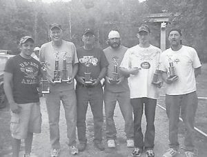 TOURNEY WINNERS — Winners of the horseshoe tournament were Jesse Fulton and Gary 'Razor' Duncan, who also had the most ringers. Finishing in second place were Lonnie Baker and Jimmy Fox, and in third were Sean Stallard and Tim Stallard.