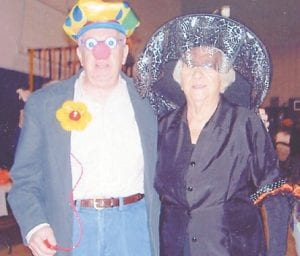 IN COSTUME at a Halloween party held at the Kingscreek Senior Citizens Center were Jim Craft and Lizzie M. Wright.