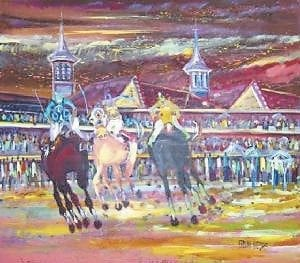 This photograph shows a painting depicting a horserace at Churchill Downs in Louisville by artist Enrique Gonzalez. An exhibit of Gonzalez's work will open at the Summit City Gallery in Whitesburg on Friday night at 7.