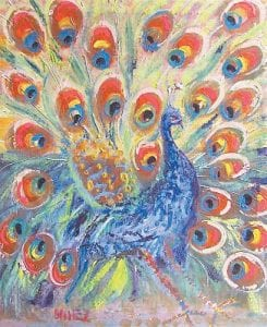 This painting of a peacock is among the works of Lexington artist Enrique Gonzalez, whose work will be on display here beginning Friday night. Gonzalez is a native of Venezuela.
