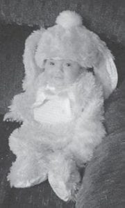 LITTLE RABBIT — Sophia Leeann Adams enjoyed her first Halloween as a pink rabbit. She is the daughter of Seblena and Derrick Adams. Her grandparents are Debra Seals and Chris and Diane Sexton. She is the greatgranddaughter of Dennis and Shelby Seals, and L.C. and Joyce Adams.