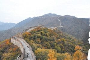 Pictured above is one of several walls that make up the Great Wall of China, photographed here in full fall glory by Connie Hall Fields during her recent trip to China to care for giant pandas.