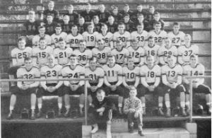 1954-55 YELLOWJACKETS — In the above picture, first row fourth from the right is #10 Don 'Lightning' Caudill, second team All-State and first team All-EKMC. Third from the right is Buddy Fields #18, third team All-State and first team All- EKMC. Second from right is Burkey Holbrook and first man on right is Robert Meade, second team All-EKMC that year.