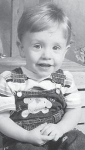 KAINE REYNOLDS, 1 ½ years old, is the son of Destini and Jeff Reynolds. He is the grandson of Shannon and Jim Banks.