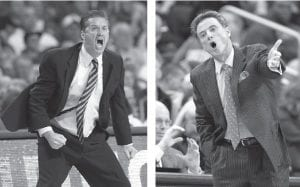 Kentucky basketball coach John Calipari (left) and UofL coach Rick Pitino will stop trading barbs through the media and finally face each other in person in Louisville's new KFC Yum! Center on December 31 at noon. (AP photos)