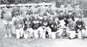 WHS BASEBALL TEAM 1993 — Front Row: Roger Caudill, John Quillen, Shade Blair, Shane Gibson, Jeremy Underwood, Larry Morrow, Jamie Collins, Charles Hicks, Kenny Spangler, Shane Campbell, and William Craft. Back Row: Coach Dickie Adams, Shiloh Campbell, Benji Meade, Castell Morton, Tommy Niece, Bobby Maggard, Coach Jerry Tolliver, Phillip Little, and Carl Slone.