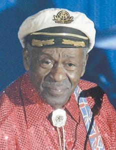 """Chuck Berry, known as """"The Father of Rock-and-Roll,"""" wore his famous cap and a red shirt during Saturday's show in Chicago. (AP photo)"""
