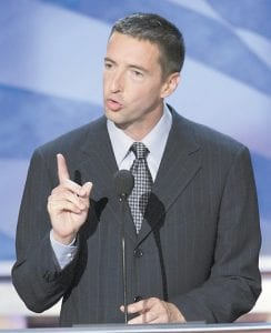 Ron Reagan, son former President Ronald Reagan, talked about stem cell research to the delegates at the Democratic National Convention in Boston in this 2004 photo. (AP Photo)