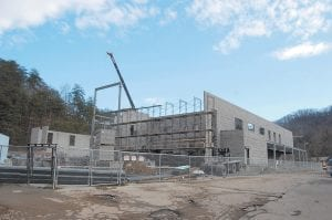 Despite poor weathr, construction on the Letcher County Recreation Center in downtown Whitesburg is continuing at rapid speed. The building, which is owned by the Letcher County goverment, is located on the former A&P/United Super site next to Dairy Queen. (Photo by Sally Barto)