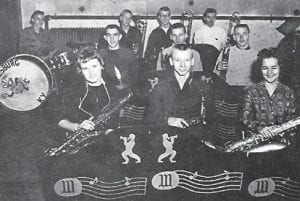 WHS Dance Band (1960-61) — Pictured are (front row, left to right) Mary Lynn Gentry, sax; Roger Blair, sax; Kay Daniels, sax; (second row) Carl Banks, trumpet; Wayne Blair, trumpet; Jack Collins,trumpet; (third row) Ronald Davis, drums; Harold Glenn Sexton, trombone, Paul Day, trombone; and Frank Bickel, trombone (director).