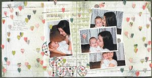 """Jamie Long of Ermine created a two-page scrapbook layout designed around her spending time with her son, Josh, when he was a baby. The layout will be printed in the July issue of """"Cricut Magazine"""". Long will have seven scrapbook layouts published in upcoming magazines."""