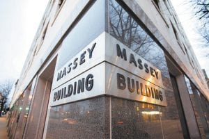 The Massey Energy headquarters in Richmond, Va., was photographed Monday. Alpha Natural Resources' proposed $7.1 billion buyout of struggling rival Massey Energy Co. would create a global power built on exporting U.S. coal for steelmakers, Alpha's chief executive said. (AP Photo/Richmond Times-Dispatch)