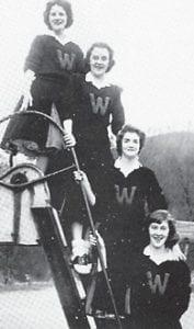 A-Team Cheerleaders — Donna Spangler, Inez Pratt, Wanda Collier, and Wanda Rogers.