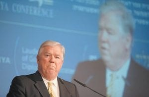 Mississippi Gov. Haley Barbour, who is coming to Kentucky to meet with coal operators, spoke at the annual Herzliya Conference in Herzliya, Israel, last week. (AP Photo)