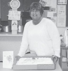 site manager at the Ermine Senior Citizens Center, was given a cake and gift certificates at the center on her birthday.