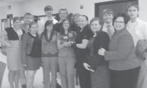 The Letcher County Central High School speech team will compete in state competition this weekend. Pictured are (front row, left to right) Cassie Riffe, Cori Riffe, Chloee Bayles, Erica Webb, Mychaela Richardson, Savannah Reynolds, Speech Coach Kim Sergent (back row) Sean Potter, Matt Boggs, Drew Raleigh, Isaac Gover, Josh Stephens and Zack Joseph.