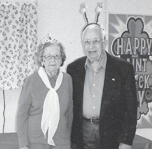 MR. AND MRS. LEPRECHAUN from the Ermine Senior Citizens Center are S.T. Wright and Helen Bentley.