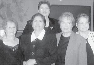 Pictured are the daughters of the late Charlie and Polly Gibson, (left to right, front) Symolene Anderson, Norma Jean Gibson, Reba Dennis, Christine Sexton, and (back) Shirley Walker.