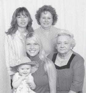 — Five generations of the family of May Ruth Potter Bentley and the late James Bentley recently gathered for this family portrait. Pictured are May Ruth Bentley, her daughter Linda, Linda's daughter Christine, and Christine's daughter Nichole, holding her baby Natalie. All are from Amherst, Ohio. May Ruth Bentley is formerly from Hemphill, the daughter of the late Mary Hall Potter and Boonie Potter.