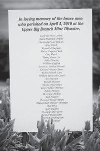 A list of the 29 miners who died at the Upper Big Branch coal mine explosion is posted at the West Virginia coal miners' memorial on the first anniversary of the disaster in Charleston, W. Va. (AP Photo)