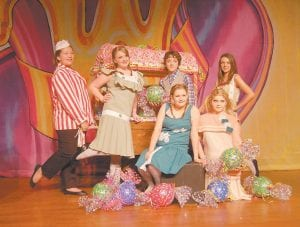 THE CANDY CREW, above, is (front row, left to right) Hannah Campbell, Katie Wynn, (back row) Casey Jones, Savannah Baker, Judson Collins and Emily Cook.