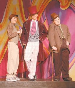 Simon Robinson, (pictured at left) plays Charlie, Paul Sokolowich plays Willy Wonka and Noah Blair plays Grandpa Joe in Cowan Elementary School's production of 'Willy Wonka Jr.' (Photos by Sally Barto)