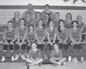 The Beckham Bates Elementary School volleyball team won the Beaver Elementary Volleyball Tournament at Beaver on last week. The Tigers competed against Perry County Middle School, Beaver Elementary and Fleming-Neon Elementary, defeating the Pirates in the championship game. Pictured, left to right, are (front row) Keeka Sexton, Keisha Niece, (second row) Katie Collins, Brooke Niece, Kiara Hollifi eld, Brandi Niece, Carli Combs, Selena Smith, Keona Reynolds (third row) Katelyn McCall, Sydnee Madden, Racheal Runyon, Brooke Madden, Kasandrya Newton, Meghan Combs, Breanna Klopp, (back row) Coach Tim Sexton and Coach Renna Sexton.