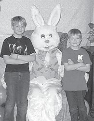 The Relay for Life Team at Letcher Manor hosted pictures with the Easter Bunny on April 16. Pictured are Andrew and Jacob, sons of Angela Combs. Andrew picked the prize egg, which contained a ticket for a $10 Walmart gift card.