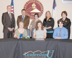 Alessandra D'Amato has received a scholarship from Alice Lloyd College. Pictured are (front, left to right) her mother Luann Vermillion, Alessandro D'Amato, her brother Paolo D'Amato, (back row) ALC President Joe Stepp, ALC Vice President for Academic Affairs Lafie Crum, ALC Director of Financial Aid Jackie Stewart, ALC Admissions Counselor Mary Turner, and ALC Director of Admissions Angie Phipps.