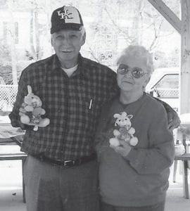 MR. AND MRS. BUNNY were selected at the senior Easter picnic at Kingscreek Park. They are Rhuford Hart and Margaret Pease.