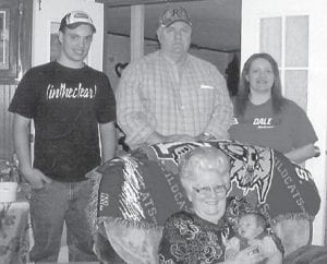 Pictured are five generations of the McCool family. Freda McCool is holding her great-greatgrandson Jaydon Shelby Akemon. In the back are (left to right) William Akemon, William J. McCool, and Sabrina Akemon.