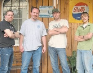 The Pure and Simple Band of Letcher County will peform Southern and Classic Rock and originals this Saturday at 7 p.m. at Magic Dog at Mayking. Pictured from left are guitarist/lead vocalist Mike Wright, lead guitarist/vocalist Travis Fields, bass guitarist/vocalist Joey Salyers, and drummer Corey Branham.
