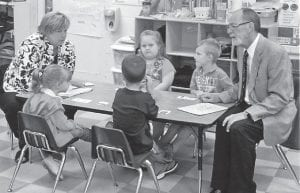 recently visited Bill Stanley's kindergarten class at Fleming-Neon Elementary School. Pictured are Oxendine, Jessica Wright, Seth Mc- Call, Emily McKinney, Jackson Bolling, and Stanley.