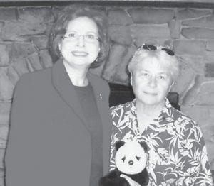 Connie Fields (right) was a recent guest speaker at the Rotary Club of Whitesburg. She spoke of her 2010 trip to China to care for that country's native Panda Bears, which fulfilled a lifelong dream of hers. Club members viewed a slideshow of some of the 4,000 photos she took on her trip, and she will also be displaying her photos at Letcher County Central High School and Jenkins Independent High School. She and her husband, Donnie Fields, are both former Letcher Countians who now live in Hazard and both are members of the Rotary Club of Hazard. Pictured with her is Rotary Club President-Elect Margaret Hammonds.