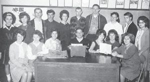1964 Black Kat Staff — Front row, left to right, Barbara Williams, Cecelia Newsome, Sherry Conatser, Steve Yonts, Angie Blair, Gertrude Brashear, and Sue Cornett. Back row, Sharon Adams, Charlotte Holbrook, Ronald Day, Frank Johnson, Barbara Noble, Ronald Banks, Ty Hall, Mable Sumpter, and Bobby Collins. Not pictured are Alleen Hatton, Lou Ann Collins, Stella Bates, and Claranda Miles.