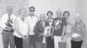 WINNING GIFTS at Ermine Senior Citizens Center were Carl Parrott, Imogene Sexton, Andrew Sexton, Lizzie M. Wright, Kathy Palumbo, Lydia Hall, Shirley Day, and Judith Vermillion. Not pictured is Debbie Miranda.