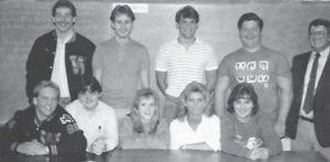 Back row, left to right: Durand Brooks, Phillip Bentley, Follace Fields, Editor Scott Adams, Advisor Buddy Roe. Front Row: Michael Jackson, Craig Webb, Marsha Holbrook, Angie Wilson, Alisa McCall.