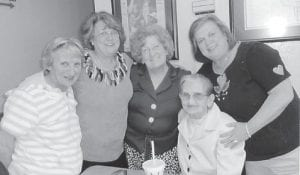 Pictured (left to right) are Eileen Banks, Betty Banks Parsons, Kathleen Brock, and Kathleen Banks Axsom, and (seated) Nellie Banks.