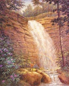 Artist Brett Johnson's most popular works here included this painting of Bad Branch Falls in Letcher County. Johnson died last week.