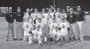 The Letcher County Central High School Cougars baseball team defeated Knott County Central Monday for the championship of the 14th Region and the right to advance to the KHSAA State Baseball Tournament. Pictured after Monday's win were (front row, from left) Tanner Sexton, Dallas Adams, (middle row, from left) Max Hall, Corey Dollarhide, Ethan Mason, Jordan Short, (back row, from left) Head Coach Brian Dean, Assistant Coach Tim Taylor, Stephen Fox, Nick King, Caleb Baker, Mason Salyers, Jarett Fields, Dakota Adams, Assistant Coach Michael Watts, Assistant Coach Jon Adams and Assistant Coach Claude Little.