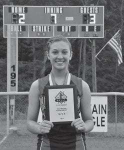 Letcher County Central High School pitcher Makaley Johnson poses with her most valuable player plaque after the Lady Cougars' 14th Region Tournament victory last week. Johnson stifled the competion from the pitcher's circle. (Photo by Chris Anderson)